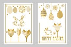 Szczęśliwe Wielkanocne karty ustawiają z zając, kwitnącymi tulipanami i ozdobnymi jajkami, Obraz Stock