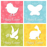 Szczęśliwe Wielkanocne sylwetek karty Ustawiać Obraz Stock
