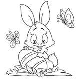 Szczęśliwe Wielkanocnego królika kolorystyki strony Fotografia Royalty Free