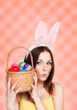 Szczęśliwe Wielkanocnej karty menchie zdjęcie stock