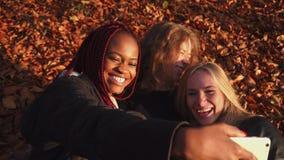 Szczęśliwe wielokulturowe dziewczyny robią śmiesznym twarzom i biorą selfies podczas gdy kłamający na ziemi yellowed pełno zbiory