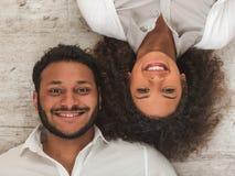 Szczęśliwego Afro Amerykańska para Fotografia Royalty Free