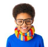 Szczęśliwego amerykanina afrykańskiego pochodzenia szkolna chłopiec zdjęcie stock