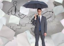 Szczęśliwego biznesmena mienia popielaty parasol Zdjęcie Royalty Free
