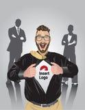 Szczęśliwego brodatego biznesmena ciągnięcia otwarta koszula wyjawiać twój loga Obraz Royalty Free