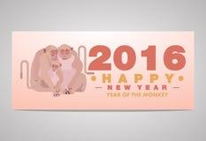 Szczęśliwego Chińskiego nowego roku kartka z pozdrowieniami 2016 Małpia rodzina Zdjęcie Stock