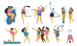 Szczęśliwego ciała pozytywne dziewczyny z zdrowym styl życia robi joga, sportowi, miłości i zabawy, ilustracja wektor