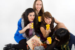 szczęśliwego cztery przyjaciela Fotografia Royalty Free