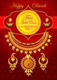 Szczęśliwego Diwali jewellery promocyjny tło z diya royalty ilustracja