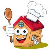 Szczęśliwego domowego kreskówka charakteru kucharza śmiesznego szefa kuchni kapeluszowa łyżka odizolowywająca ilustracja wektor