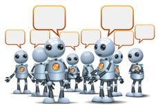 szczęśliwego droid robota mały gawędzenie na odosobnionym bielu royalty ilustracja