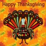 Szczęśliwego dziękczynienia Piękna kolorowa etniczna indycza ptasia jesień Zdjęcie Stock