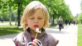 Szczęśliwego dziecka podmuchowi dandelions Mała dziewczynka z puszystym dandelion zdjęcie wideo