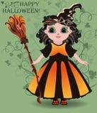 szczęśliwego halloween Śliczna mała czarownicy karta Zdjęcia Royalty Free