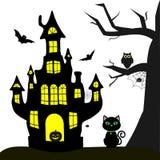 szczęśliwego halloween Czarownica kasztel, czarny kot drzewo, sowa, latający wampiry, pająki i duchy na białym tle, ilustracji