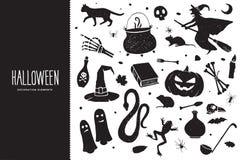 szczęśliwego halloween Kreskówka ustawiająca czarni wakacyjni elementy biały Halloween czarny sylwetki również zwrócić corel ilus ilustracja wektor