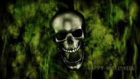 szczęśliwego halloween Ludzka czaszka Z dymem I Pożarniczym 3D renderingiem Fotografia Stock