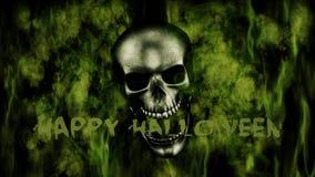 szczęśliwego halloween Ludzka czaszka Z dymem I Pożarniczym 3D renderingiem Obraz Royalty Free