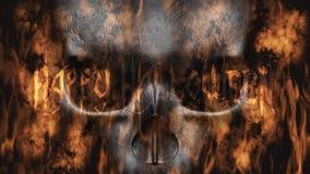 szczęśliwego halloween Ludzka czaszka Z dymem I Pożarniczym 3D renderingiem Obraz Stock