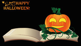 szczęśliwego halloween Otwiera starą książkę z banią Fotografia Stock