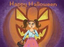 Szczęśliwego Halloween pocztówkowego pojęcia czarownicy ilustracyjny powitanie royalty ilustracja