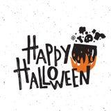 szczęśliwego halloween Ręki literowania plakat Wektorowa ilustracja okropny bojler ilustracji