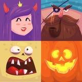 szczęśliwego halloween Set Halloween charaktery Zdjęcie Royalty Free