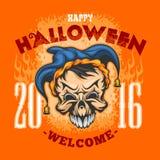 szczęśliwego halloween Zła błazen czaszka royalty ilustracja