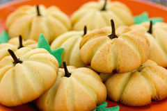 Szczęśliwego Halloweenowego przepisu ciastka, śmiesznego i zdrowego cukierki t dyniowy, Obraz Stock