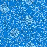 Szczęśliwego Hanukkah świętowania bezszwowy wzór z wakacyjnymi przedmiotami