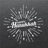 szczęśliwego hanukkah Chrzcielnica skład z geometryczna ręka rysującymi sunbursts i świeczki w roczniku projektujemy na kartonowe Obraz Stock
