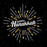 szczęśliwego hanukkah Chrzcielnica skład z geometryczna ręka rysującymi sunbursts, słońce promienie i świeczki w roczniku, projek Fotografia Stock