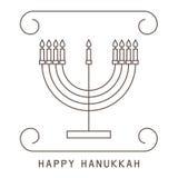 szczęśliwego hanukkah Kartka z pozdrowieniami z candlestick i świeczkami ilustracji