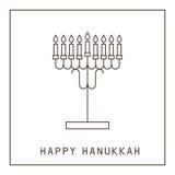 szczęśliwego hanukkah Kartka z pozdrowieniami z candlestick i świeczkami royalty ilustracja