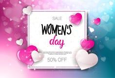 Szczęśliwego kobieta dnia sprzedaży Wakacyjnego zakupy projekta rabata plakata Promocyjny Talonowy tło Fotografia Royalty Free
