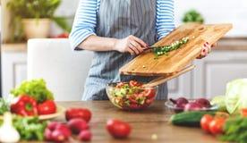Szczęśliwego kobiety narządzania jarzynowa sałatka w kuchni Zdjęcie Royalty Free