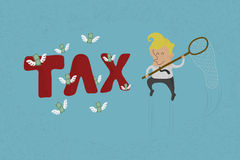 Szczęśliwego mężczyzna łowiecki latający pieniądze Zdjęcie Stock