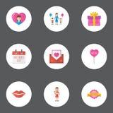Szczęśliwego Macierzystego ` s dnia ikony układu Płaski projekt Z dekoracją, Mama I Kopertowymi symbolami, Uroczej mamy Piękny Ko ilustracja wektor