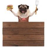 Szczęśliwego mopsa grilla psi jest ubranym rzemienny fartuch, trzymający hamburger i szpachelkę, z drewnianej deski znakiem fotografia royalty free