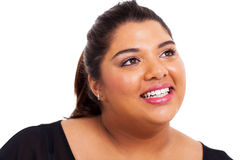 Szczęśliwa z nadwagą dziewczyna zdjęcie royalty free