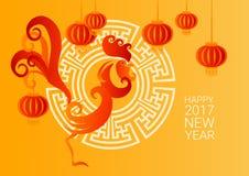 Szczęśliwego Nowego 2017 rok koguta Ptasi Chiński Latarniowy Azjatycki horoskop ilustracji