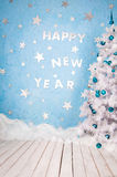 Szczęśliwego nowego roku Świąteczny projekt skład na podległych wakacjach Fotografia Royalty Free