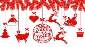 szczęśliwego nowego roku, Święty Mikołaj kapelusz, rogacze, serce, prezent, świnia i choinka, Cięcie z papieru ilustracja royalty ilustracja