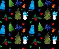 Szczęśliwego nowego roku Bezszwowy wzór, Bożenarodzeniowy zima temat, Piękny akwareli tło royalty ilustracja