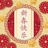 szczęśliwego nowego roku chiński Gratulacyjni hieroglyphics w c ilustracji
