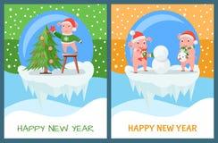 Szczęśliwego nowego roku choinki Świniowaty Dekoruje set ilustracja wektor