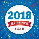 2018 szczęśliwego nowego roku confetti wakacyjnych kart Fotografia Stock