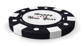 Szczęśliwego nowego roku czerni kasynowy układ scalony Fotografia Stock