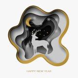 Szczęśliwego nowego roku 3d abstrakta papieru rżnięta ilustracja rogacz, drzewo, śnieg, księżyc i gwiazdy w nocy, royalty ilustracja