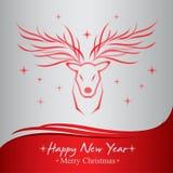 Szczęśliwego nowego roku i Wesoło bożych narodzeń kartka z pozdrowieniami Obrazy Royalty Free